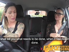 Fake Driving School Sexy strap on fun for new big tits drive