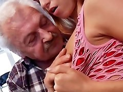 Fuck-a-thon lover grandpa Gustavo fucking young pussy in porn casting