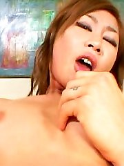 Monstrous lipped Asian takes a cum shot in her eye after Julians xxx drill