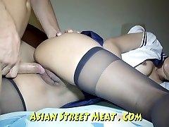 Bum Fucked haning On Asian Balcony