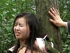 Čínská armáda dívka přivázaná ke stromu 2