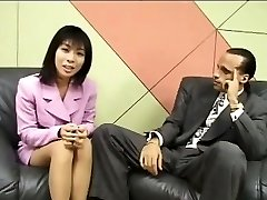 Tiny Japanese reporter swallows cum for an interview
