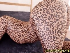 Flessibile asiatici cosplay ragazza in leopard body creampied
