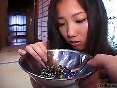 Subtitled Japanese CMNF schoolgirl 20 marbles insertion
