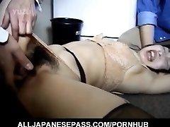 Japanese AV Model has bushy crack roughly screwed by two guys