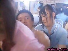 Asian group-sex sex act
