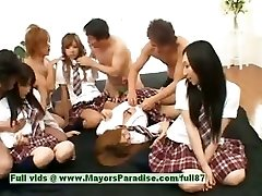 Japanese V beauties have fun with an orgy