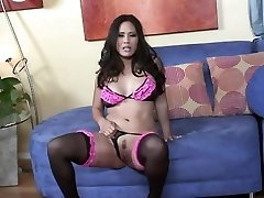 Jessica fucking on a ottoman in black nylons