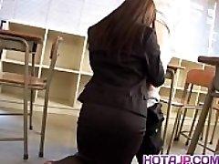 Mei Sawai Asian busty in office dress gives hot blowjob at school