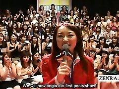 Subtitled CFNM Japanese thick handjob blowjob event