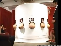 Asian butts stuffing out of gloryholes