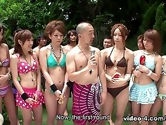 Girls in swimsuits are partying in the swimming pool - AviDolz