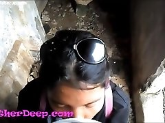 Heather Deep inspects trail in jungle and get creamthroat in deserted toilet