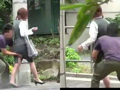 Undressing Turning micro-skirt