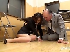 Japanese Cougar ass groped in the office! her aged manager wants some fresh pussy