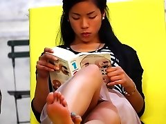 Candid Asian Feet Feet Upskirt in Park Jaw-dropping