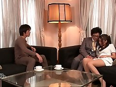 Lewd hubby and his pal undress kinky wife Aoi Miyama and plow her well