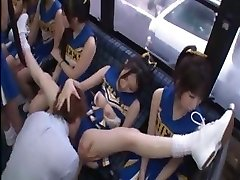 Horny Chinese cheerleaders in a hot gang sex fuck for all
