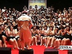 Subtitled CFNM Japanese monstrous handjob blowjob event