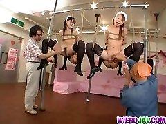 Crazy bondage for sleazy maids