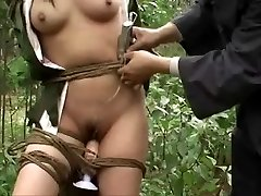 Chinese army girl tied to tree Trio
