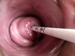 Uterus play with Japanese sounding insertion
