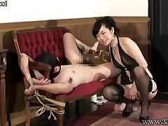 Chinese Femdom Guts Massage Bound Slave