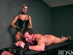 Sexy Domina loves teasing her sub boys hard jizz-shotgun while he's handcuffed