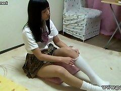 Asian Schoolgirl Upskirt and Downblouse