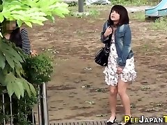 Embarrassed chinese pissing