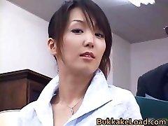 Beautiful real asian Shiho getting jizz part3
