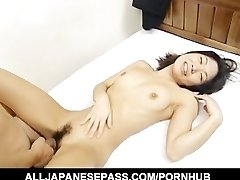 Miku shows off her pretty hairy muff before spreading her legs for a hard