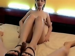 Korean Gal foot insert. Suck & Fuck, Face cum