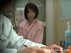 Redhead asian beauty gets breasts checked at therapist