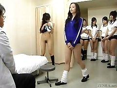 Subtitled CMNF Japanese college girls gang medical exam