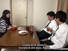 Too tired spouse falls asleep while his colleague ravages his wife Risa Kurokawa