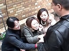 Japanese women taunt man in public via hj Subtitled