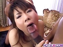 Masami Abe gets spunk-pump in interracial tearing up