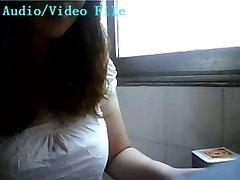 Asian girl lactating on webcam