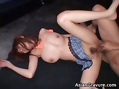 Breasted real japanese red head getting her part6