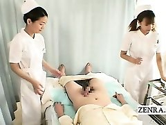 Subtitles CFNM two Japanese nurses hj with cum-shot