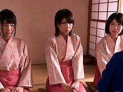 Smallish femdom Japanese kimono babes jump on dude