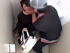Long vagina fucked stiff by japanese manhood in public toilet