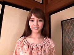 Subtitled Japanese AV starlet Rei Mizuna striptease to bareness
