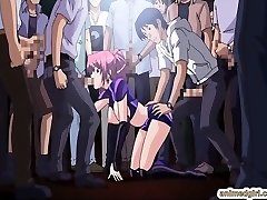 Hotty Asian anime gangbang in the public show
