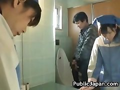 Asian toilet attendant cleans wrong partTrio