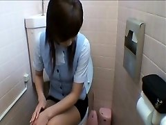 Office Ladies Getting Into Toilet Getting Off
