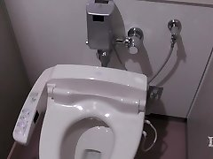 Elitist perverted woman. In the restroom in a workplace, onan
