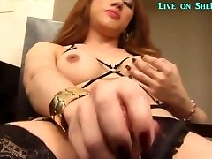 Hot Asian shemale jerks off