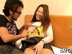 Oriental mother bends for beefstick in oriental fuck video